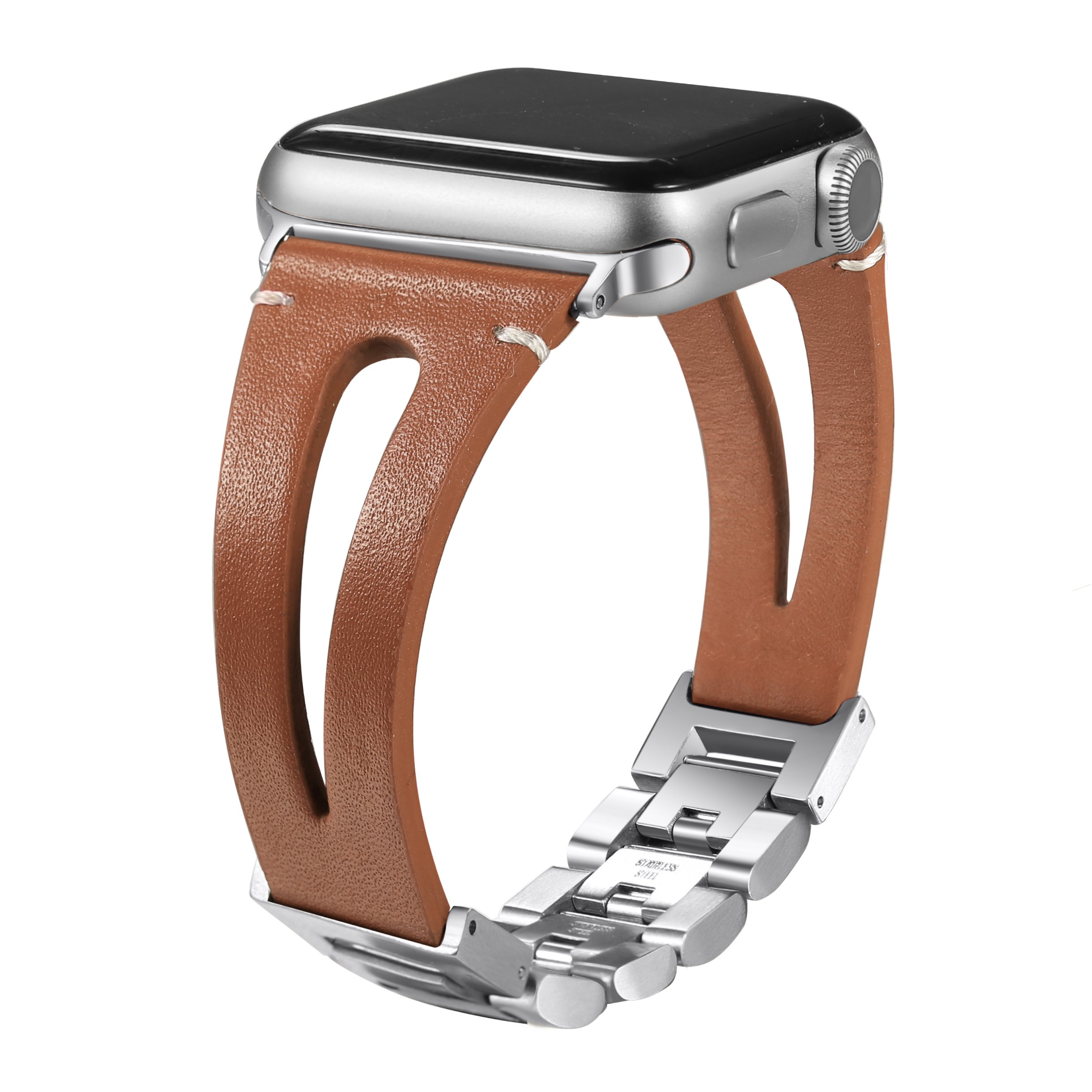 Secbolt Leather Bands Compatible Apple Watch Band Series 4 40mm, Series 3/2/1 38mm, Handmade Vintage Leather Bracelet, Hollowed Brown
