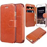 iPhone 6 wallet case TAKEN PU leather flip shell cover hard dustproof shockproof scratch drop durable Card Slot for Apple iphone 6 6s 4.7 Inch- Dark Brown