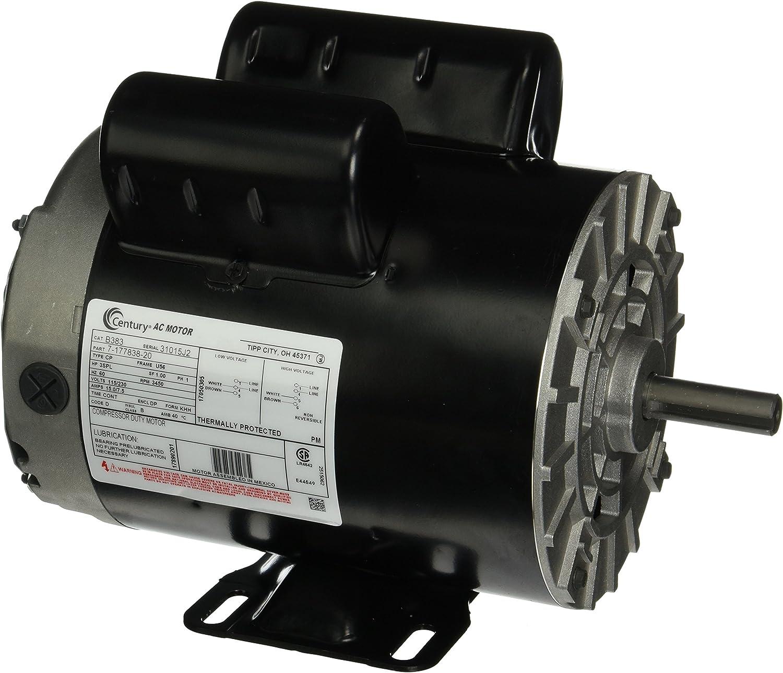 3 HP SPL 3450 RPM U56 Frame 115/230V Air Compressor Motor - Century # B383