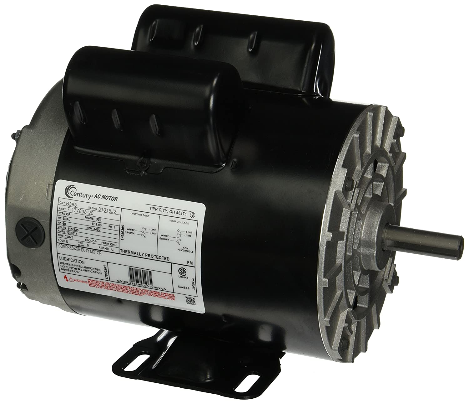 3 Hp Spl 3450 Rpm U56 Frame 115 230v Air Compressor Motor Century Smith Jones 3hp Wiring Diagram B383 Electric Fan Motors