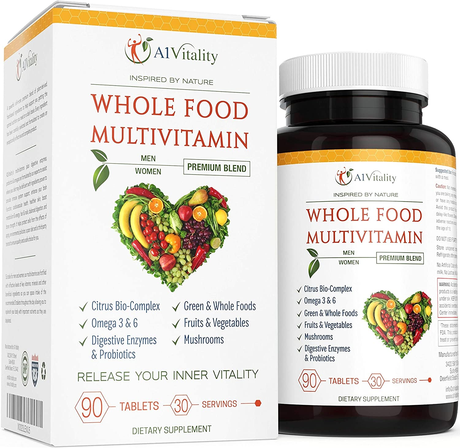 Whole Foods Multi-Vitamin For Women And Men - Natural Wholefood Blend Of Vitamins, Minerals, Digestive Enzymes, Probiotics, Omega 3 & 6, Vegetables, Fruit, Mushrooms, Boost Immune System & Antioxidant