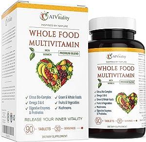 Whole Foods Multi-Vitamin For Women And Men - Natural Wholefood Blend Of Vitamins, Minerals, Digestive Enzymes, Probiotics, Omega 3 & 6, Vegetables, Fruit, Mushrooms, Boost Immune System & Antioxidant