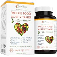 Whole Food Multivitamin for Women and Men - Natural Wholefood Blend of Vitamins, Minerals, Digestive Enzymes, Probiotics, Omega 3 & 6, Vegetables, Fruit, Mushrooms, Boost Immune System & Antioxidant