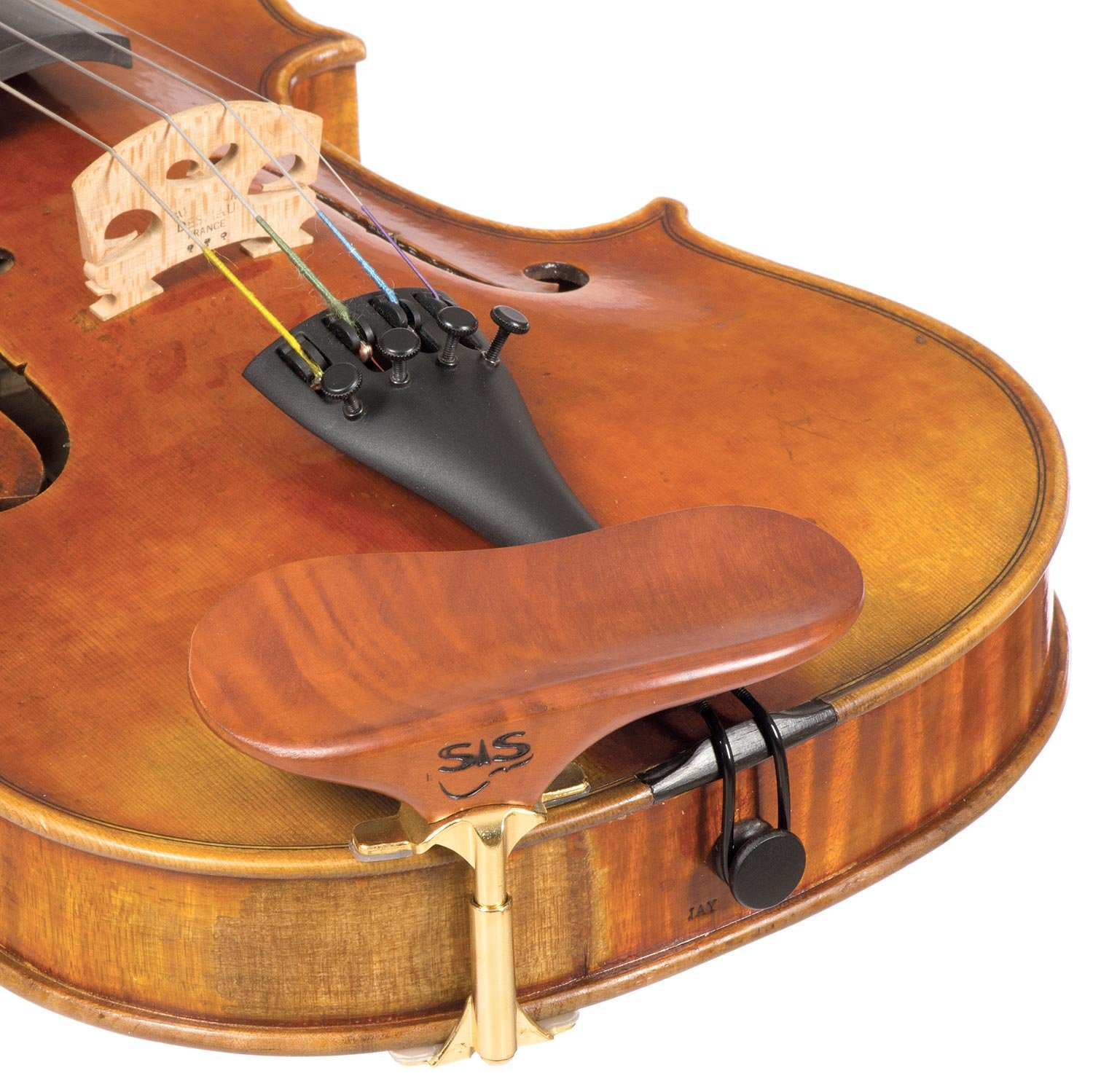 SAS Pearwood Chinrest for 3/4-4/4 Violin or Viola with 24mm Plate Height and Goldplated Bracket BHBU0503A534