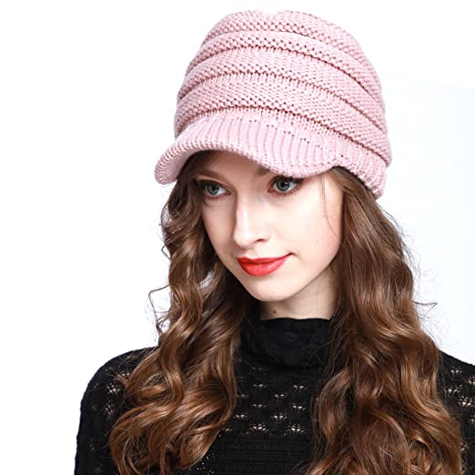 160d016bf BV2311 Cable Ribbed Knit Beanie Hat w/ Visor Brim – Chunky Winter Skully Cap