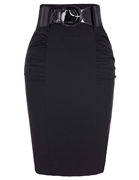 d66b34e57d Belle Poque Slim Fit Business Pencil Skirt Wear to Work Skirts Black, Small  KK271-