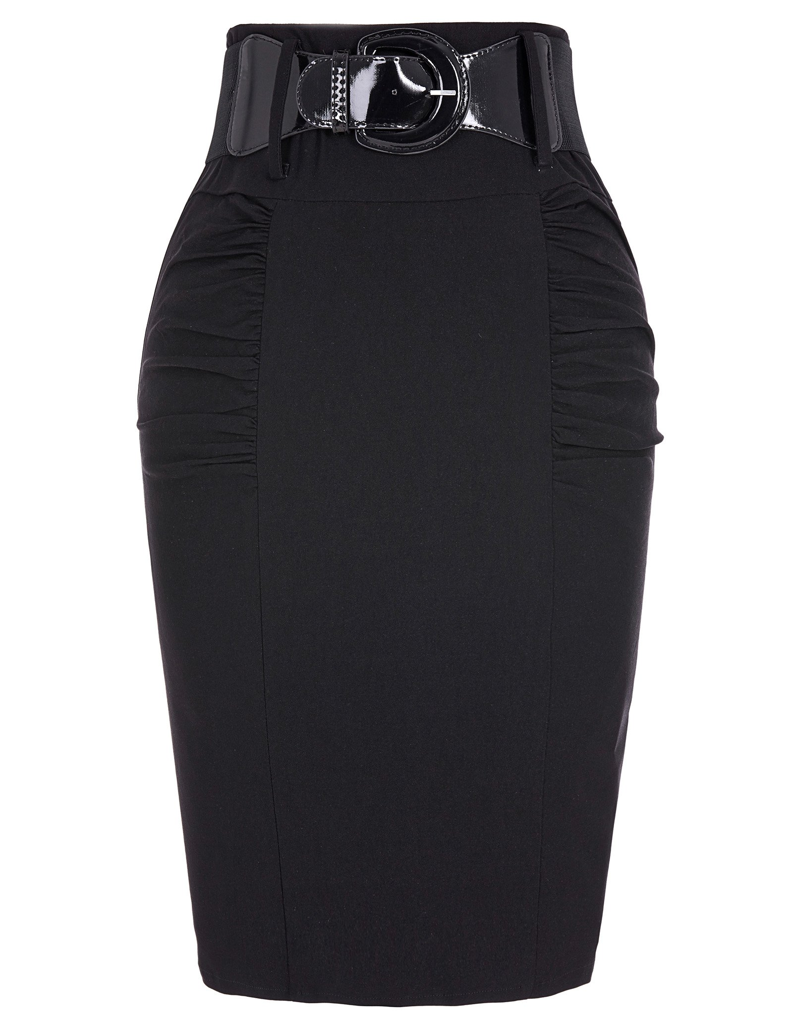 Belle Poque Bodycon Black Stretchy Pencil Skirts for Work Business Size L KK271-1