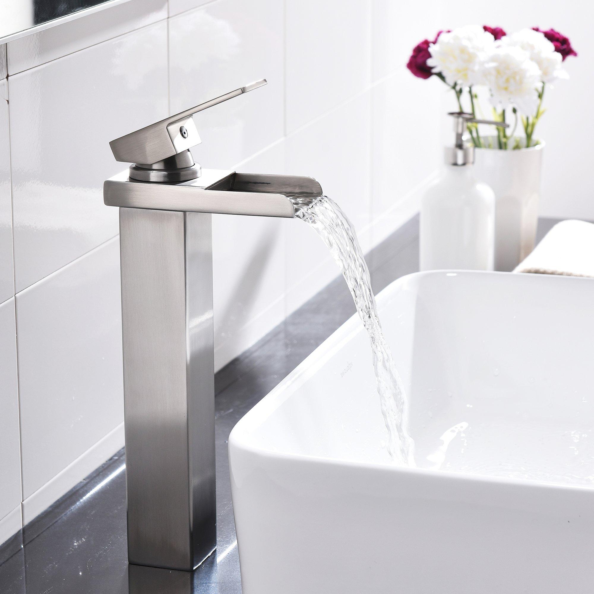 Comllen Waterfall Spout Single Handle Lever Bathroom Vessel Sink Faucet, Brushed Nickel