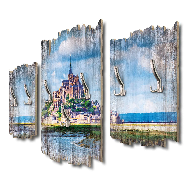 Kreative Feder Mont-Saint-Michel Frankreich Designer Wandgarderobe Flurgarderobe Wandpaneele 95 x 60 cm aus MDF-Holz DTGH024