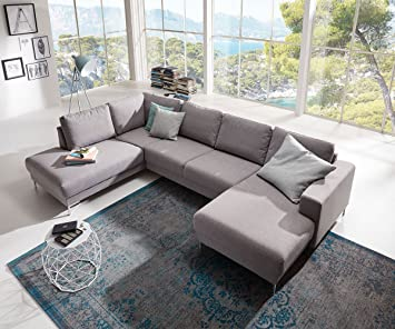 Delife Couch Silas Grau 300x200 Cm Ottomane Links Designer