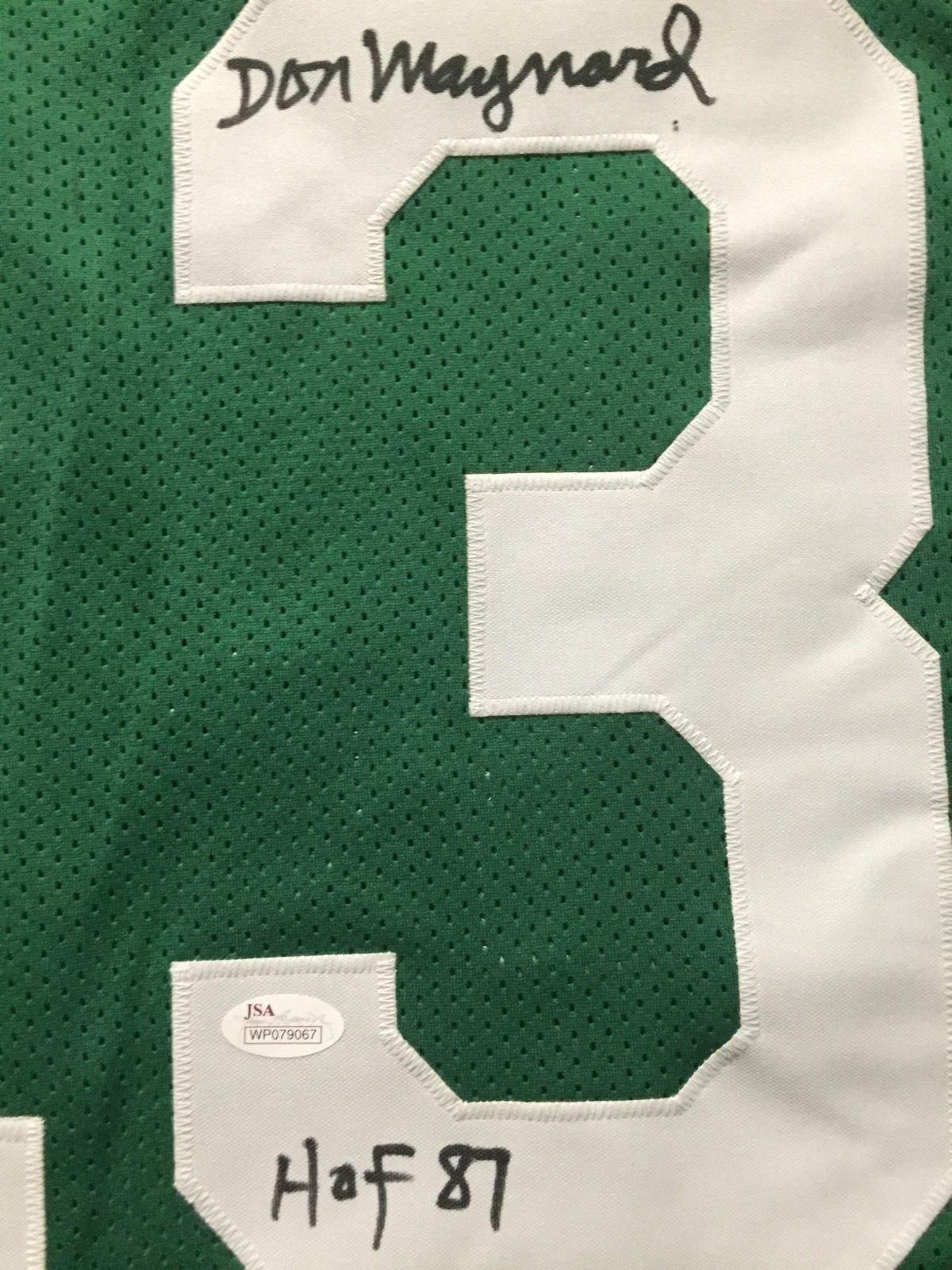 "Autographed/Signed Don Maynard""HOF 87"" New York Green Football Jersey JSA COA"