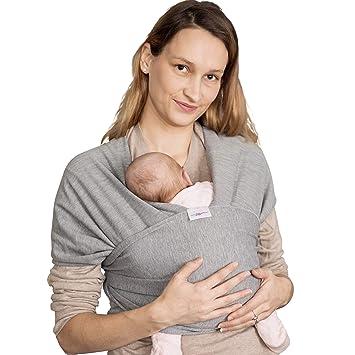 95/% Baumwolle 5/% Lycra Wickeltuch Baby Tuch Schwarz Elastisches Tragetuch Baby Babytrage Neugeborene bis Kleinkinder 15kg mit 3 Tragepositionen