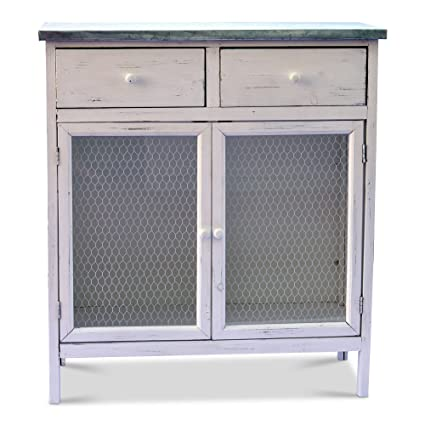 Whole House Worlds The Farmeru0027s Market Shabby Commode Cabinet, 2 Drawers,  Galvanized Metal,