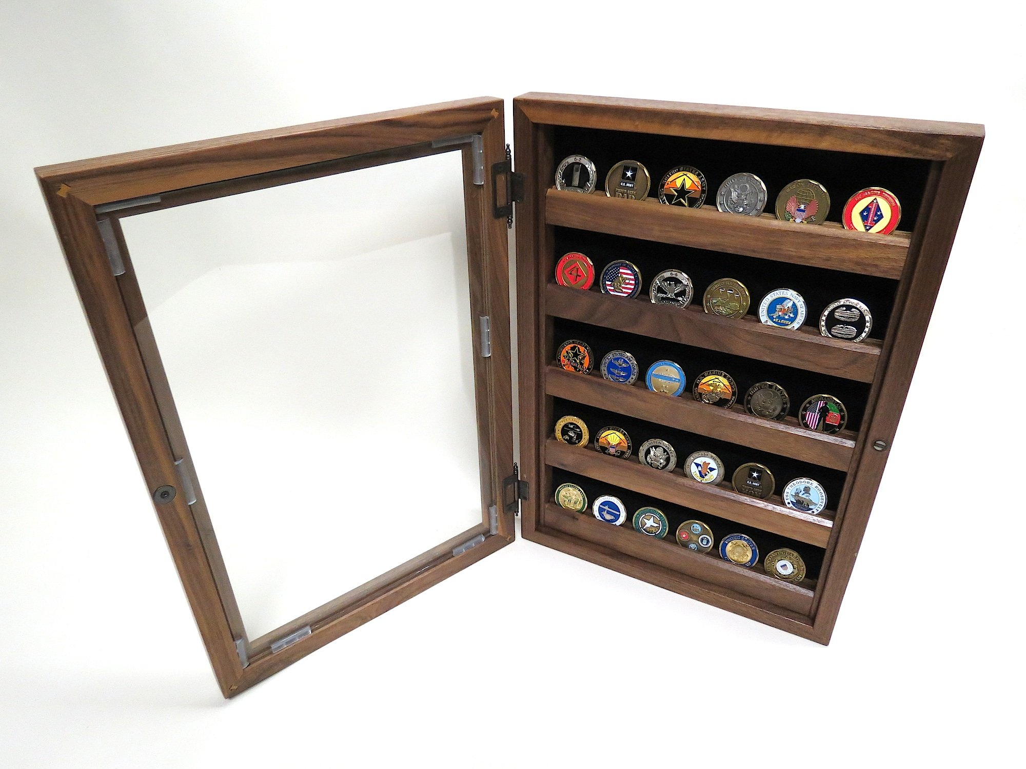 Military Challenge Coin Display - Shadow Box Combo (Solid Walnut Wood)