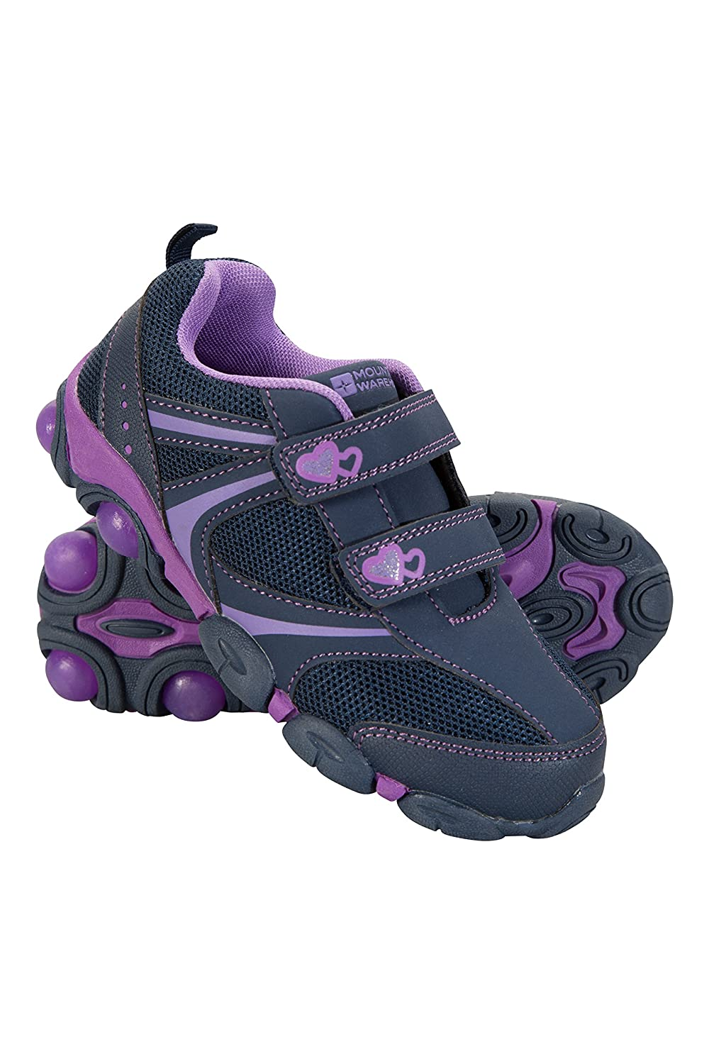 Mountain Warehouse Light Up Junior Shoes - Durable Shoes, Lightweight Footwear, Breathable Kids Shoes, Hook & Loop Fitting- for Walking, Travelling This Summer Navy 6 Child UK