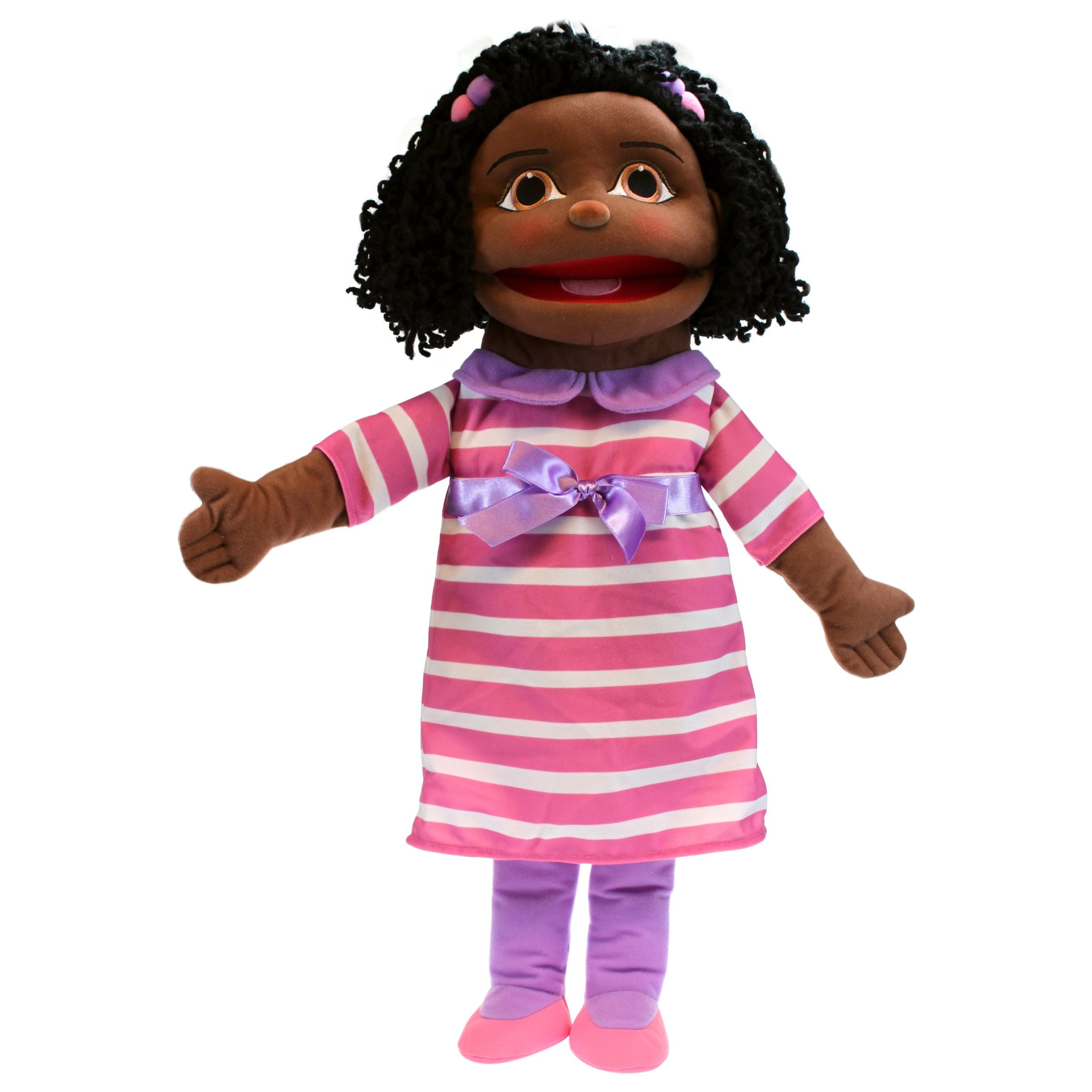 The Puppet Company Medium Sized Puppet Buddies Girl Hand Puppet - Dark Skin Tone