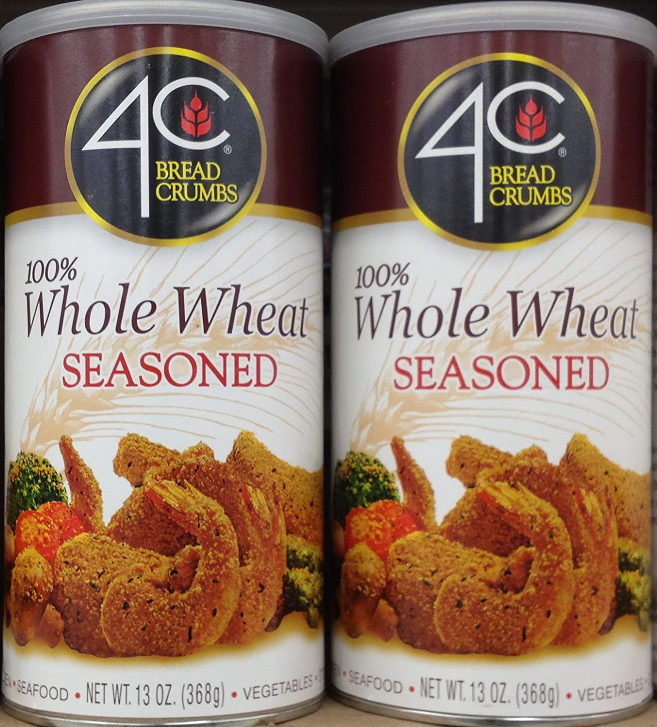 4 C 100% Whole Trigo SEASONED Pan migajas 13oz (2 latas ...