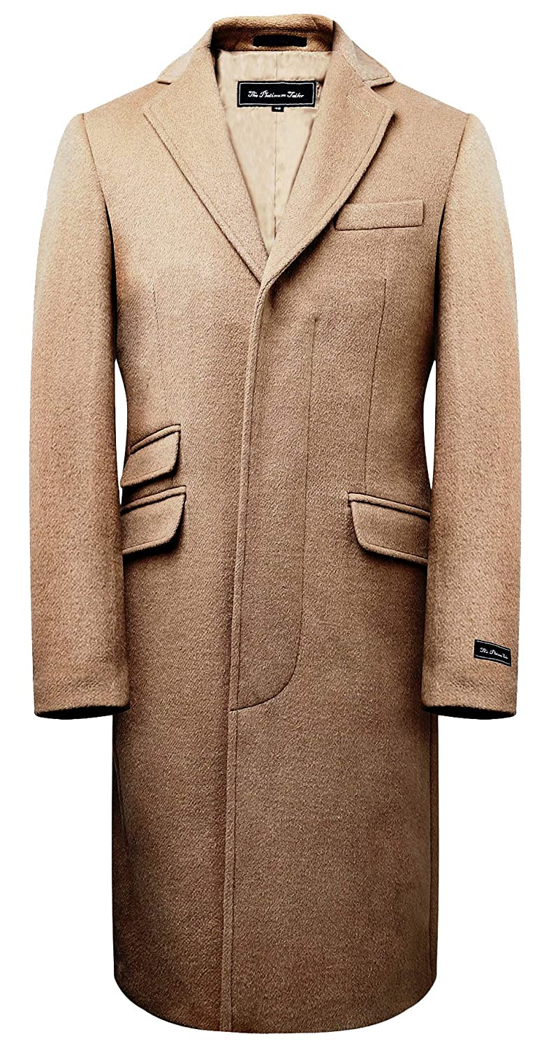 60s 70s Men's Jackets & Sweaters Mens Camel Wool Covert Overcoat Warm Winter Mod Single Breasted Cromby Coat with Gold Satin Lining $189.99 AT vintagedancer.com