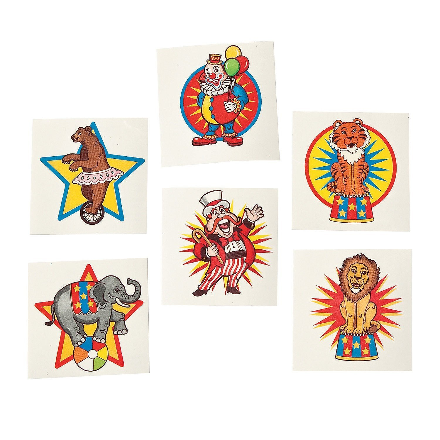 Under the Big Top Kid's Temporary Tattoos (6 dz)