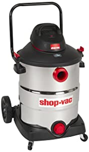 Shop-Vac 5989700 16 gallon 6.5 Peak HP Stainless with Handle Wet Dry Vacuum Black with Accessories, uses Type U Cartridge Filter Type R Foam Sleeve & Type G Filter Bag