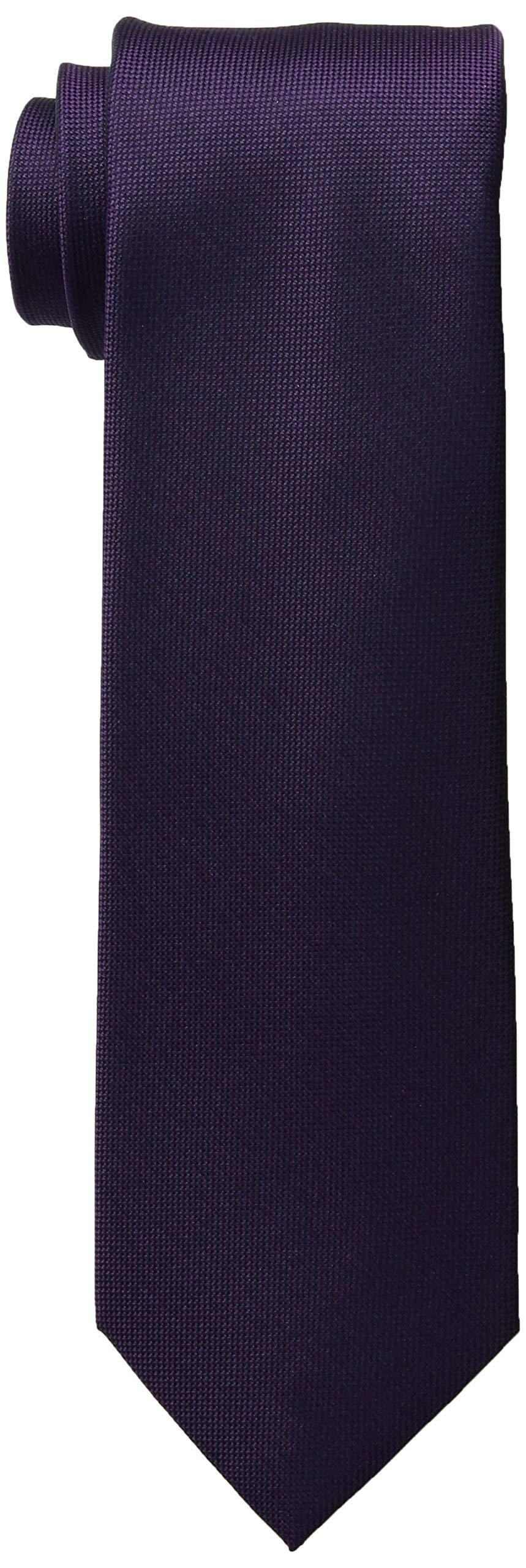 Calvin Klein Men's Silver Spun Solid Tie, Plum, Regular