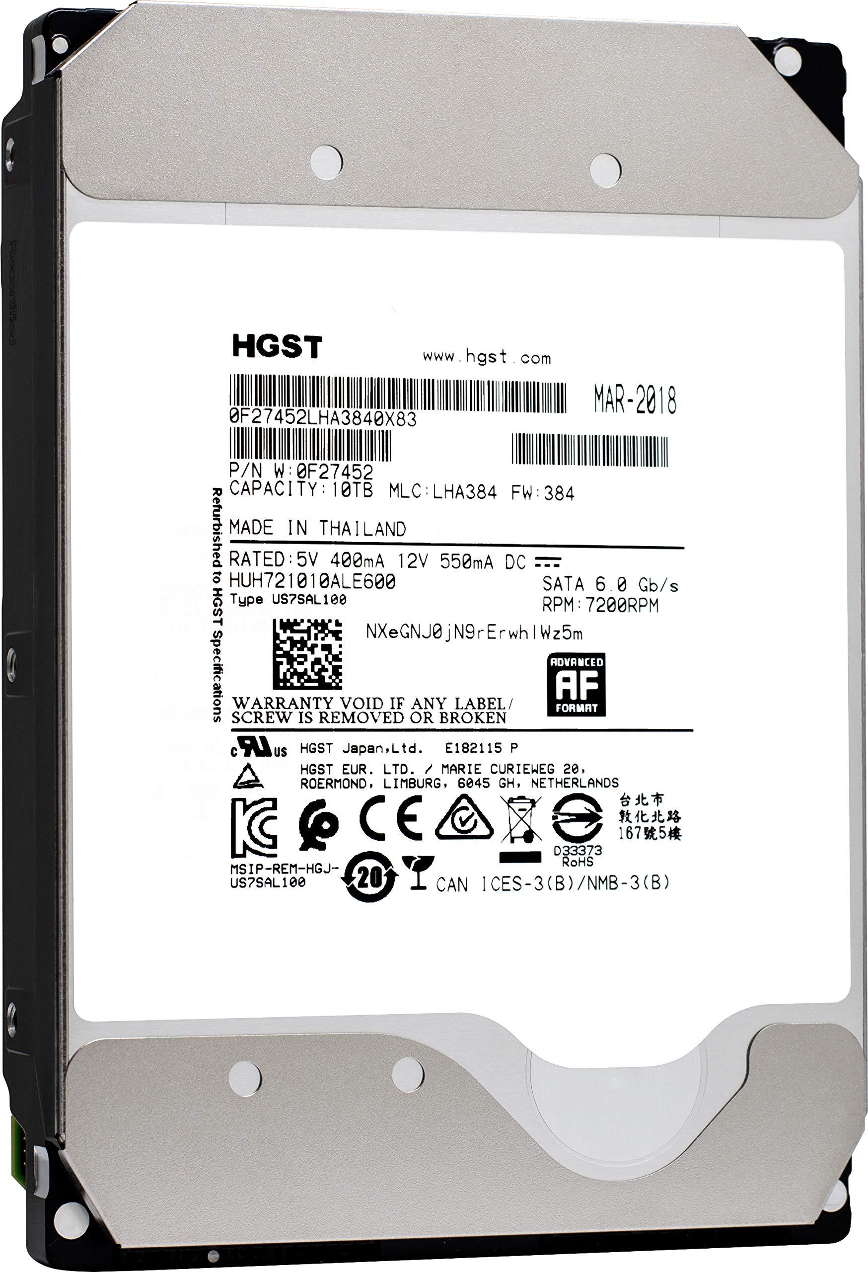 HGST Ultrastar He10 | HUH721010ALE600| 0F27452 | 512e | 10TB SATA 6.0Gb/s 7200 RPM 256MB Cache 3.5in | Enterprise Hard Drive HDD,  (Renewed) by HGST (Image #1)