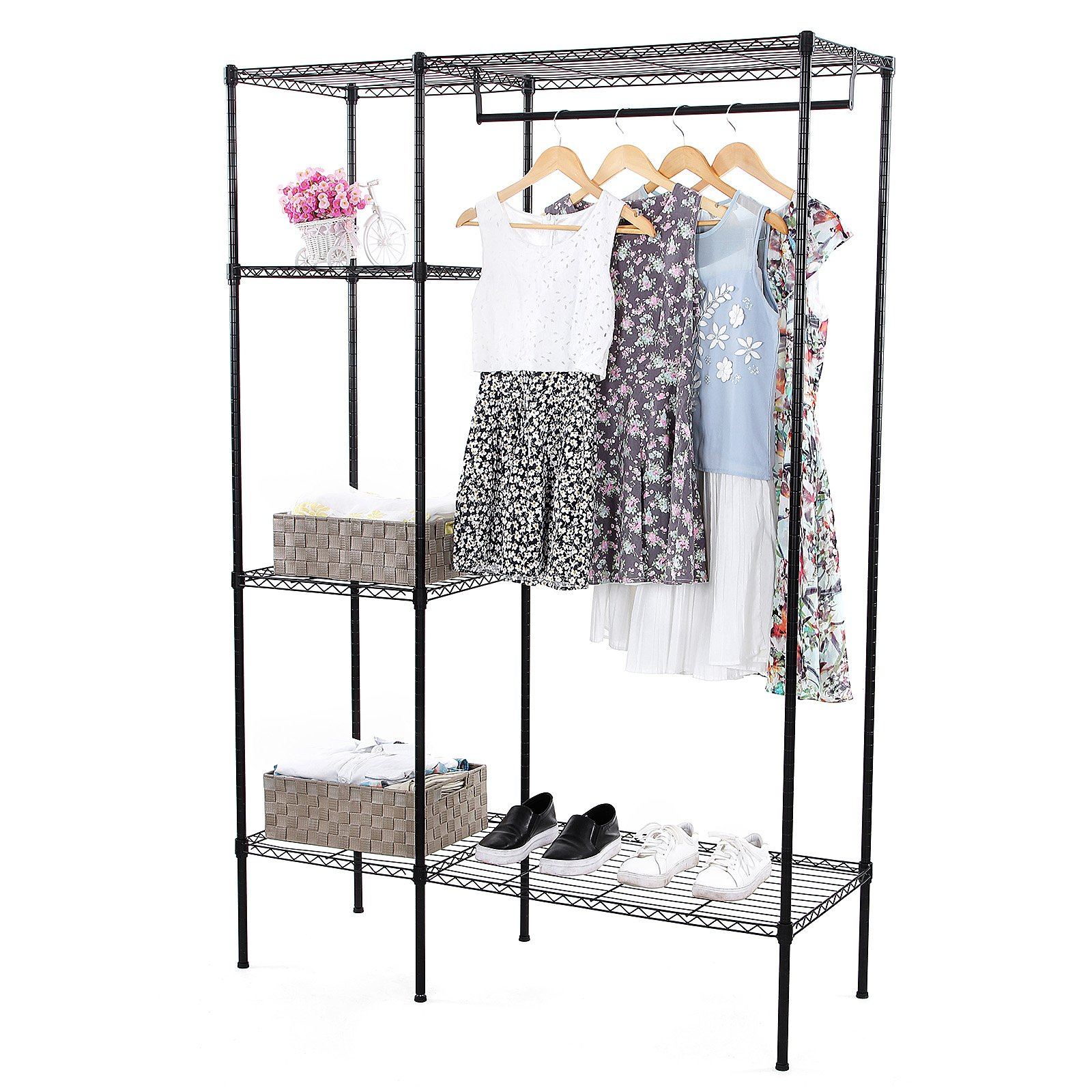 SONGMICS Extra-Large Shelving Garment Rack Heavy Duty Portable Clothes Wardrobe Free-Standing Closet Storage Organizer ULGR12P