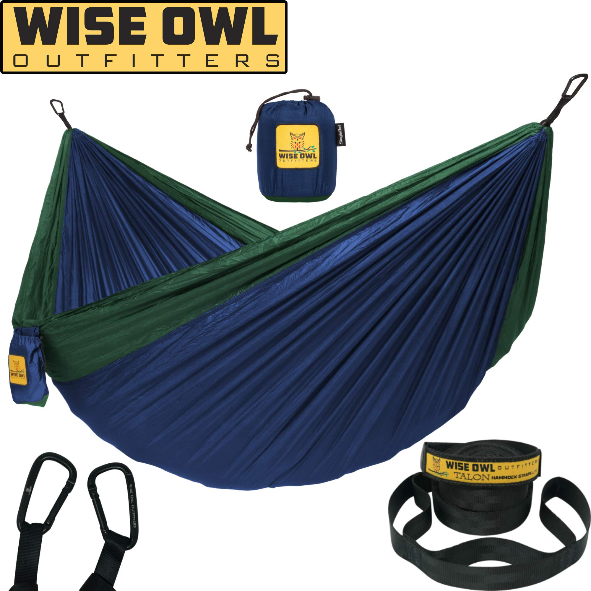 Wise Owl Outfitters Hammock Camping Double & Single with Tree Straps - USA Based Hammocks Brand Gear, Indoor Outdoor Backpacking Survival & Travel, Portable SO NvyFor
