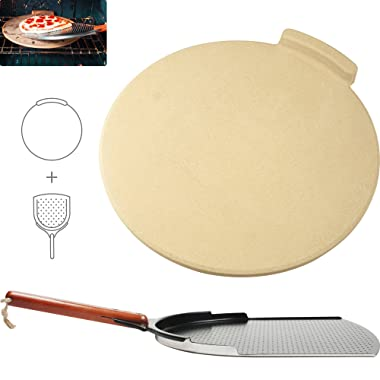 "The Ultimate Pizza Making Kit - Classic 16"" Round Pizza Stone and 14"" Pizza Peel 
