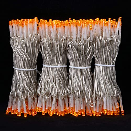 100 Feet 300 Orange LED String Lights, Adapter with Functions Controller Constant Lighting Flashing Mode, Wide Angle LED String Lights for Party Bedroom Patio Garden Halloween Holiday Orange