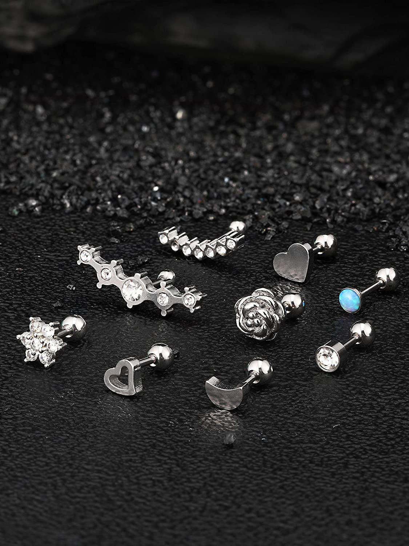 24 Pi/èces 16G Boucles dOreilles en Acier Inoxydable Oreille Piercing Bijoux Cartilage Boucle dOreille Ensemble pour les Femmes Filles Faveurs
