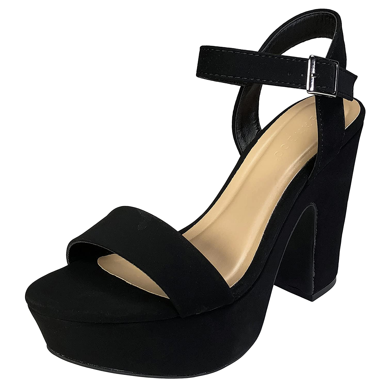 BAMBOO Women's One Band Chunky Heel Platform Sandal with Quarter Strap