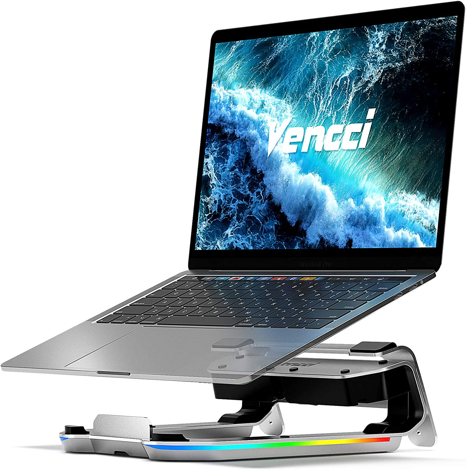 Vencci Laptop Stand for Desk, Ergonomic Aluminum Computer Laptop Riser Holder with 8-in-1 USB C Hub | RGB Light | Adjustable Height, Compatible with MacBook Pro Air HP XPS and More Type C Devices