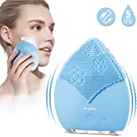 Sonic Silicon Facial Cleansing Brush, ARTIFUN Electronic Double-sided Brush Head Face Revitalising & Cleansing Device Massager, Vibrate Mode Deeply Cleansing, Blackhead Acne Treatment, for All Skin Type(Blue)