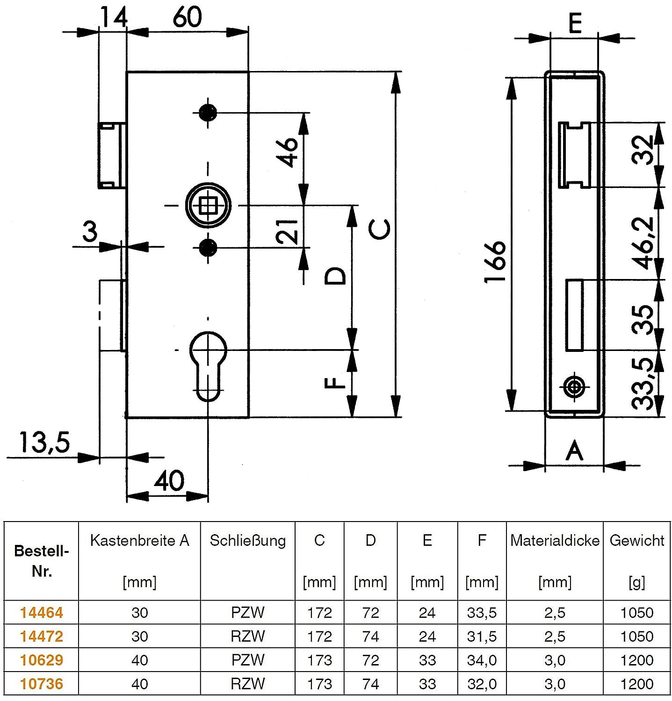 Brillante Plata AMF 141U-10629 Caja de Cerradura