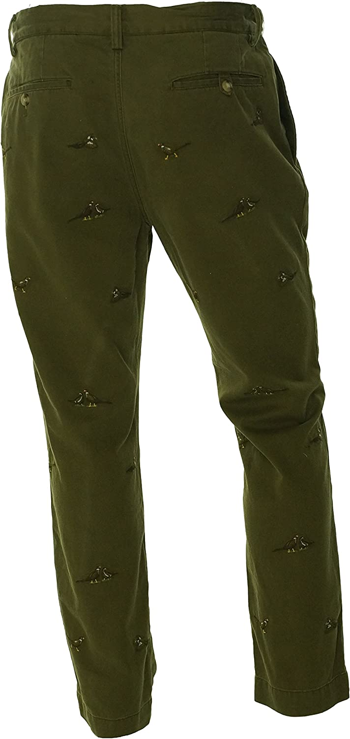 Ralph Lauren Polo Mens Straight Fit Embroidered Chino Pants Green