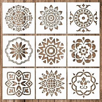Kunst Scrapbook Wandmalerei Schablone f/ür DIY W/ände Handwerk Zeichnung Vorlage Journal Buchstabenhilfen wiederverwendbare Schablonen zum Zeichnen Mandala-Schablonen Mandala-Stein