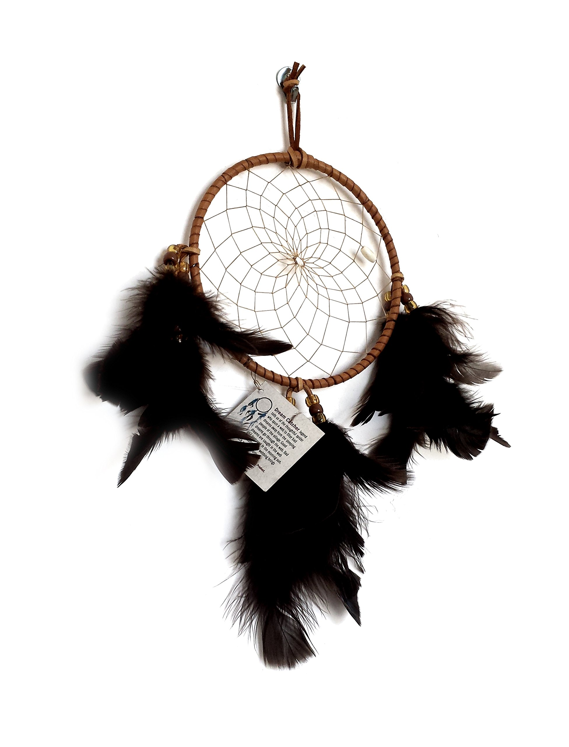 Dream Catcher - Authentic 6 inch Medium Hand Made Native American Indian Cherokee Dreamcatcher by NativeAmericanVault