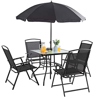 vongrasig 6 piece folding patio dining set all weather small metal outdoor table and chair set garden patio furniture set w umbrella glass table