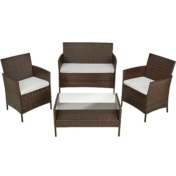 TecTake Muebles de Jardín en Poly Ratan | Conjunto 1 Mesa de Café, 1 Banco y 2 Sillas con Almohadas | para Terraza o Balcón