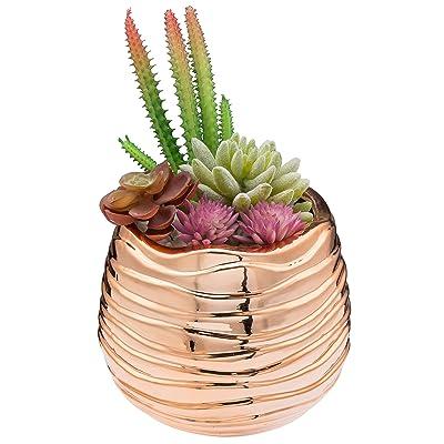 MyGift 5.5-Inch Rose Gold-Tone Ceramic Wavy Design Planter Pot : Garden & Outdoor