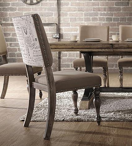 Roundhill Furniture C428 Birmingham Script Printed Finish Nail Head, Set Of  2, Dining Chair