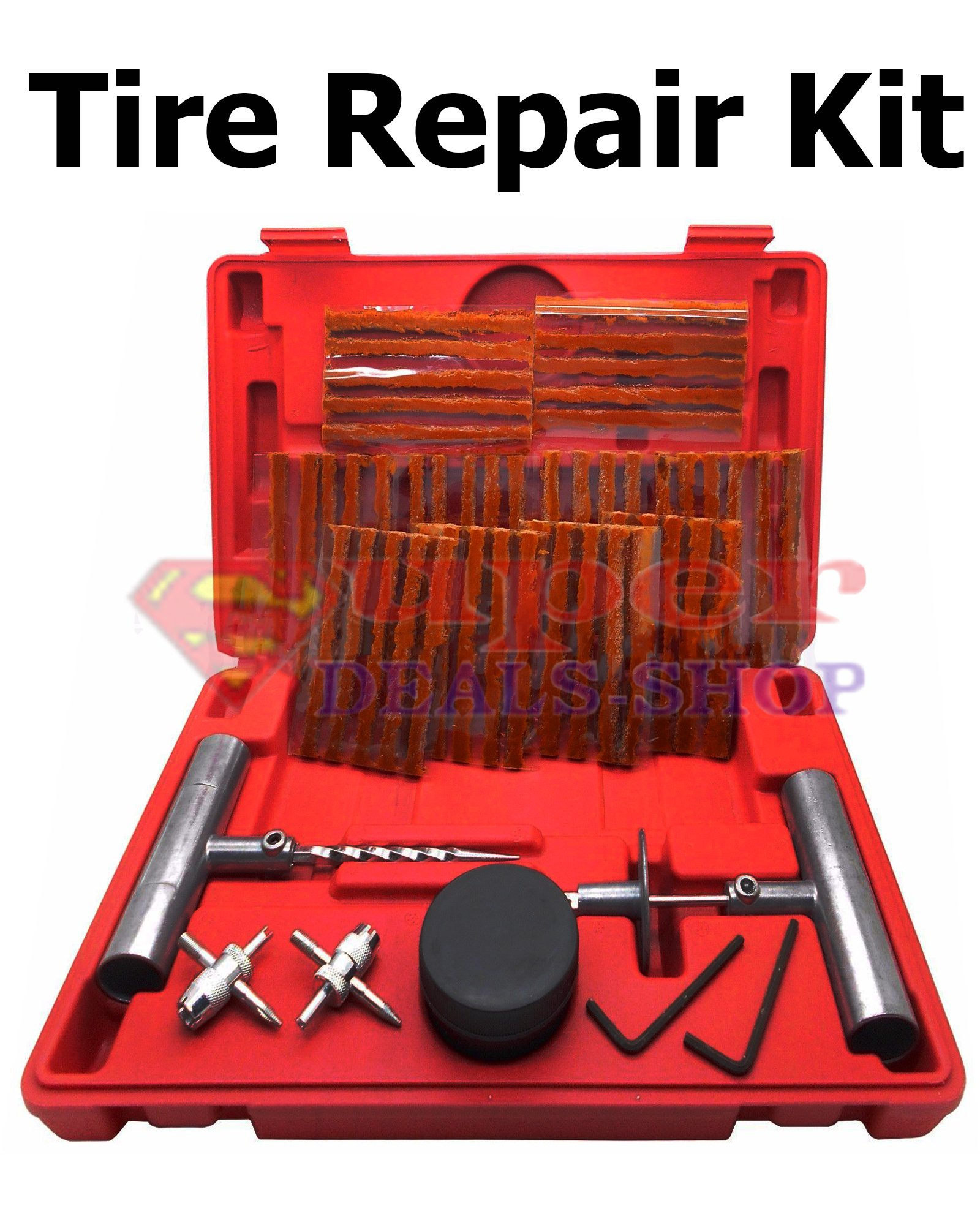 57 Pcs Tire Repair Kit DIY Flat Plugs, T-handle Insert & Spiral Probe Tool, Knife, Sealing Lubricant, Tire Puncture Repair Strips/Strings Tyres Repair Patch Set Car Truck etc. Super-Deals-Shop