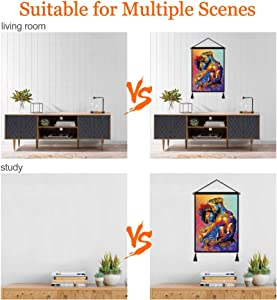 Premium Hanging Poster Canvas Wall Art, African King And Queen Tapestry Plush Scroll With Tassels, Decoration For Home Dorm Office -18 X 26 In
