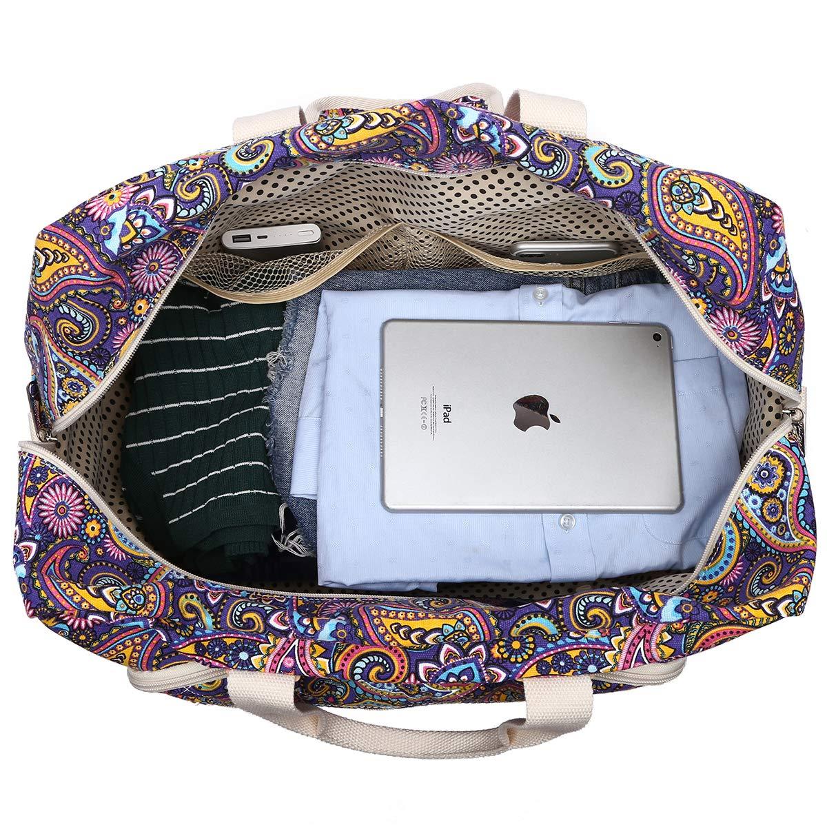 Malirona Women's Canvas Overnight Weekender Bag Carry On Travel Duffel Tote Bag Bohemian Flower (Purple Flower) by Malirona (Image #5)