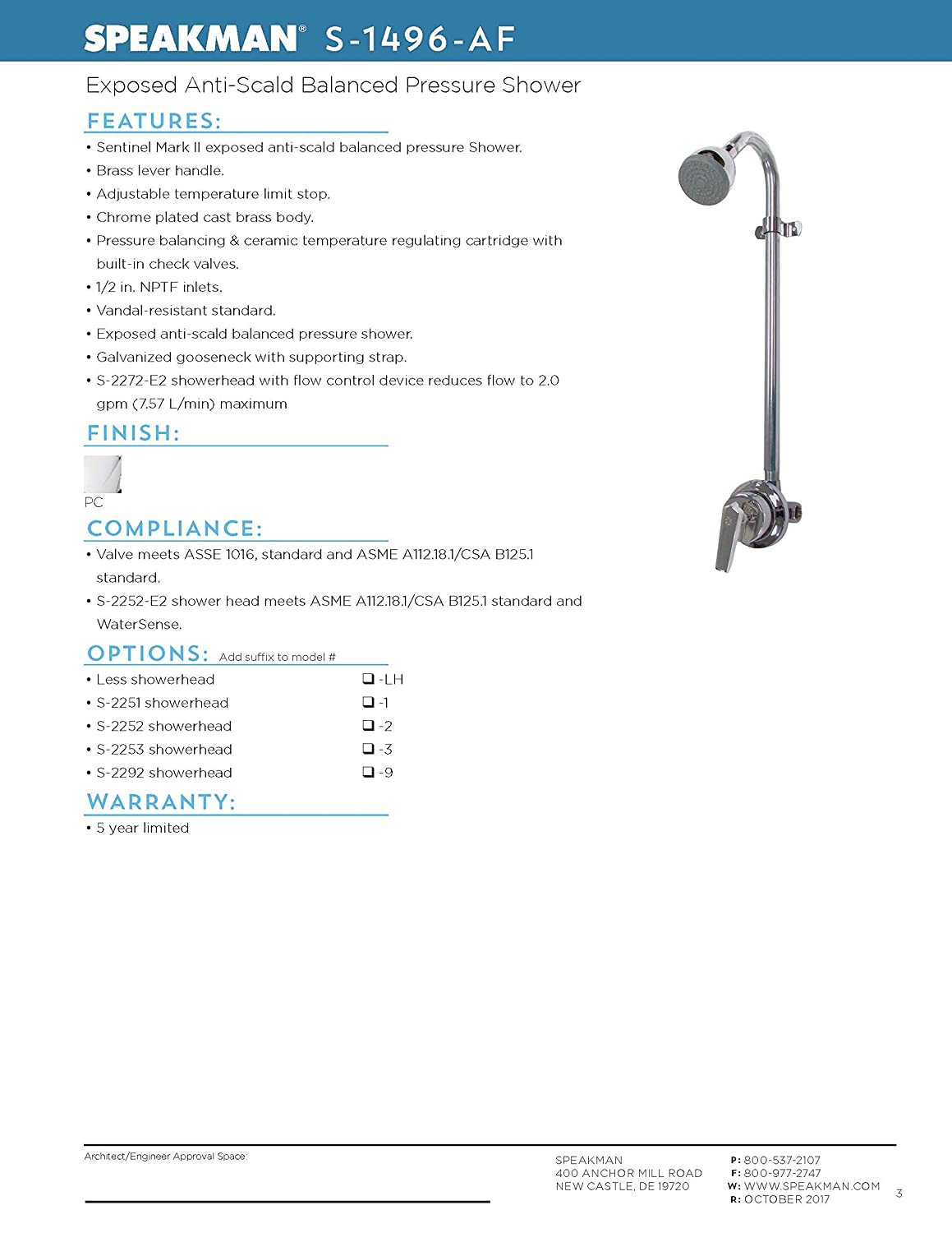 Speakman S 1496 Af Sentinel Mark Ii Shower Valve Combination With