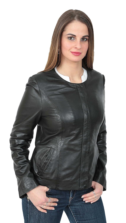 A1 FASHION GOODS Damen Schwarzes Lederjacke Kragenloser Ausschnitt Neueste  Gepaßter Zip up Coat Gemma  Amazon.de  Bekleidung 52206273a0