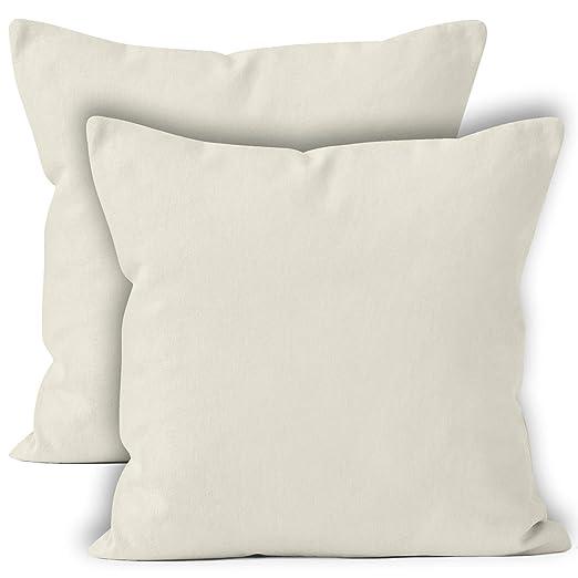 Encasa Homes Fundas de Cojines 2 Piezas (50x50 cm) - Natural - Lona de algodón teñida Forma sólida, Decorativa, Grande y Colorida, Lavable Funda ...