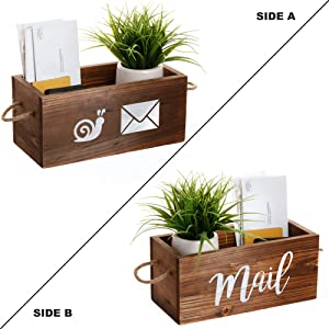 MAINEVENT Rustic Mail Organizer - Decorative Wooden Mail Holder, Mail Organizer Countertop Storage Box, Office Desk Organizer, Rustic Farmhouse Decor for The Home (Brown)
