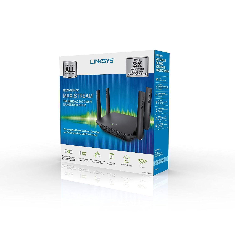 Amazon.com: Linksys AC3000 Max-Stream Tri-Band Wi-Fi Range Extender ...